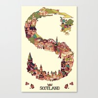 scotland Canvas Prints featuring S is for Scotland by Kelly Chilton