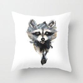 Raccoon stealing seeds! Throw Pillow