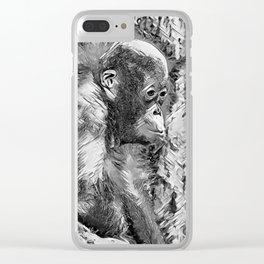 AnimalArtBW_OrangUtan_20170907_by_JAMColorsSpecial Clear iPhone Case