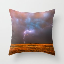 Ride the Lightning - Lightning and Rainbow Over Oklahoma Plains Throw Pillow