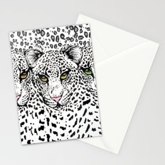 THREE SNOW LEOPARDS Stationery Cards
