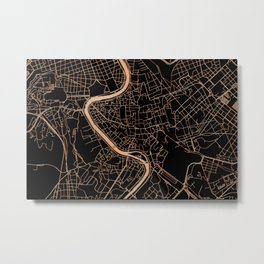 Black and gold Rome map Metal Print