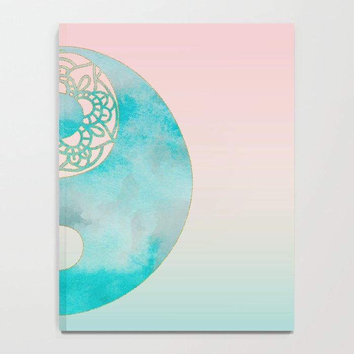 Yin Yang Watercolor Esoteric Symbol teal and soft pink #yinyang Notebook