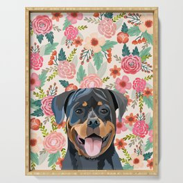 Rottweiler floral pet portrait dog breed gifts for pure breed dog lovers Serving Tray