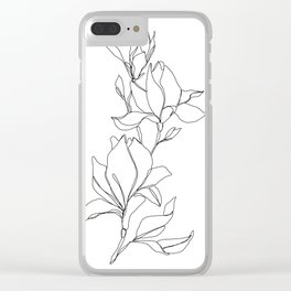 Botanical illustration line drawing - Magnolia Clear iPhone Case