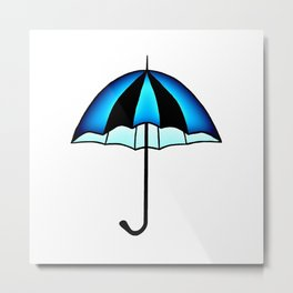 Bright Blue Black Rain Umbrella Illustration Metal Print