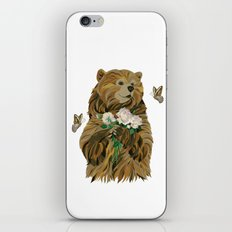 Bear with flowers and butterflies iPhone & iPod Skin
