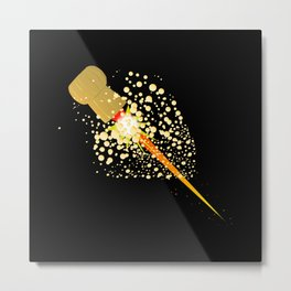 Flying Rocket Powered Cork Metal Print