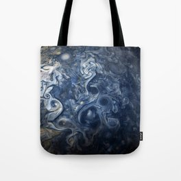Swirling Blue Clouds of Planet Jupiter from Juno Cam Tote Bag
