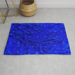 Indigo Lovely Calm Blue, Moroccan Traditional Texture Painting (N30) Rug