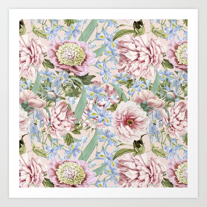 Vintage Shabby Chic Floral Peony And Iris Flowers Watercolor Pattern Art Print