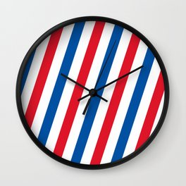 Blue, white and red stripes pattern Wall Clock
