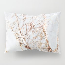 Gold Grey and White Sparkle Marble Pillow Sham