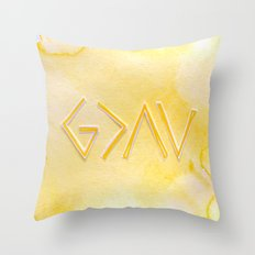 God Is Greater Than The Ups and Downs- YELLOW Throw Pillow