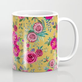 Mustard yellow floral autumn / fall flowers and berries Coffee Mug