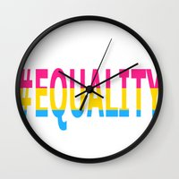 equality Wall Clocks featuring Pansexual Equality  by TwistedRoots