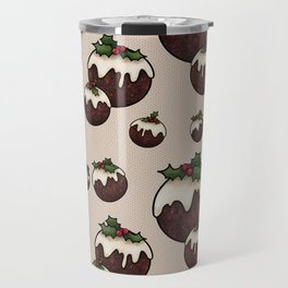 Christmas Pudding Feast with Holly and Berries, Cream Travel Mug