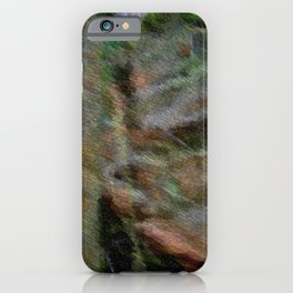Rock wall in dark forest ... iPhone Case