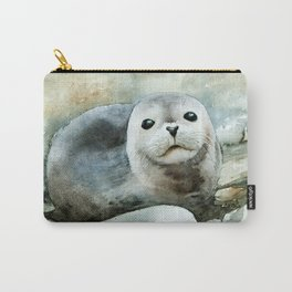 Curious seal on the pebbles Carry-All Pouch