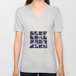 Black and Cobalt Blue Minimalist Mosaic Tiles Unisex V-Neck