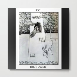 The Tower Tarot Card Pencil Drawing Illustration Metal Print