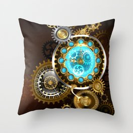 Unusual Clock with Gears ( Steampunk ) Throw Pillow