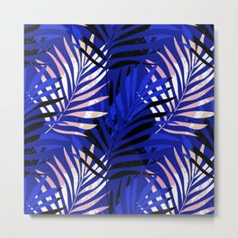 Modern palm leaves print Metal Print