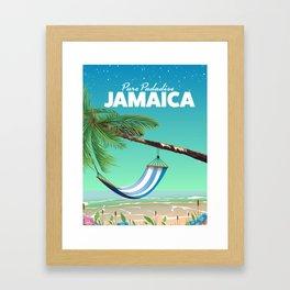 'Pure Paradise' Jamaica travel poster Framed Art Print