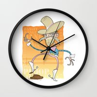 poop Wall Clocks featuring Cow Poop by breakfastjones