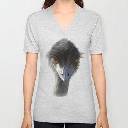 Suspicious Emu Stare, watercolor Unisex V-Neck