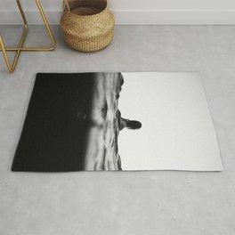 BLACK AND WHITE - OCEAN - WAVES - SEA - WATER - WOMAN Rug