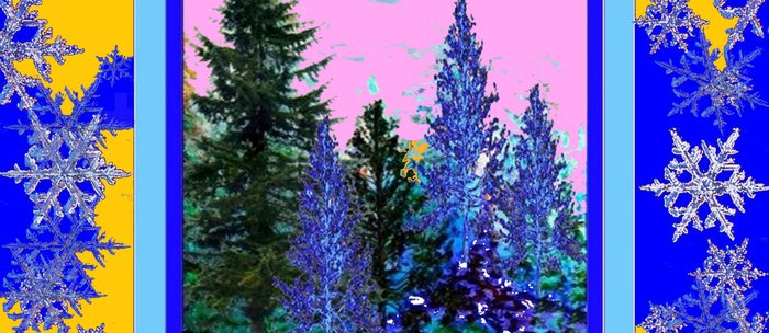 YELLOW-BLUE WINTER SNOWFLAKES  FOREST TREE  ART Coffee Mug