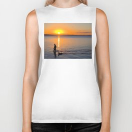 Wading in the Sunset Biker Tank