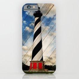Cape Hatteras Lighthouse Landscape Photograph on Faux Wood Panels Texture iPhone Case