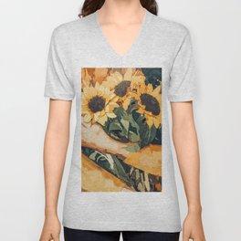 Holding Sunflowers #society6 #illustration #nature #painting Unisex V-Neck