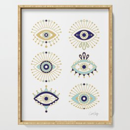 Evil Eye Collection on White Serving Tray
