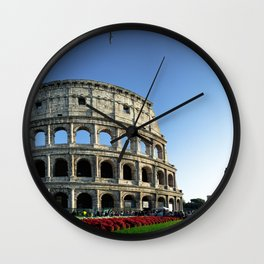 Colosseo red flowers Wall Clock