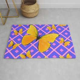 Decorative  Yellow Butterflies on Lilac & Pink Rug