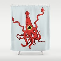 squid Shower Curtains featuring Squid by Pennyflip