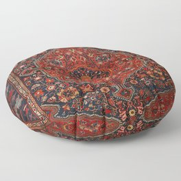 Persian Joshan Old Century Authentic Colorful Red Rusty Blue Vintage Rug Pattern Floor Pillow