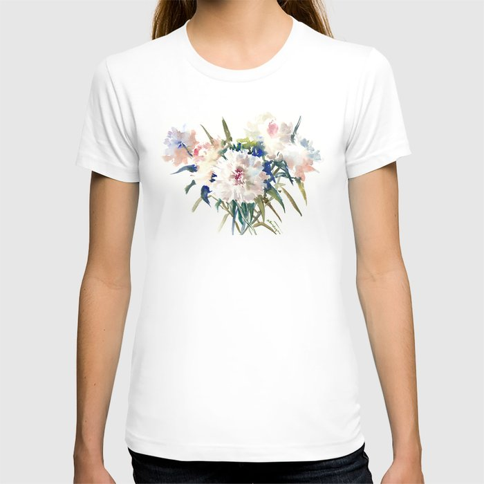 White Peonies, Asian Watercolor design Garden Peonies White lofral art T-shirt