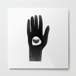 Black Botanical Hand Metal Print