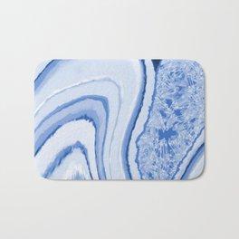 Blue Crystal Watercolor Effect Design Bath Mat