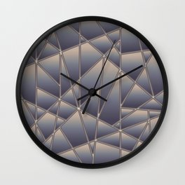 'Quilted' Geometric in Antiqued Blue Wall Clock