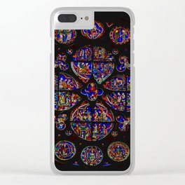 Stained Glass Rose Window 1 Clear iPhone Case