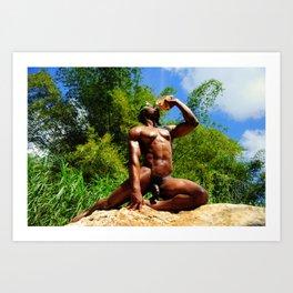 Nude caribbean male shell blower Art Print