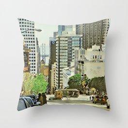 Toony Travel - San Francisco Throw Pillow