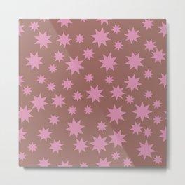 Colorful Pink and Brown Stars Pattern Metal Print