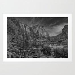 Valley View B & W 6656 - Yosemite National Park, CA Art Print