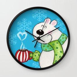 Hot Cocoa Polar Bear Wall Clock